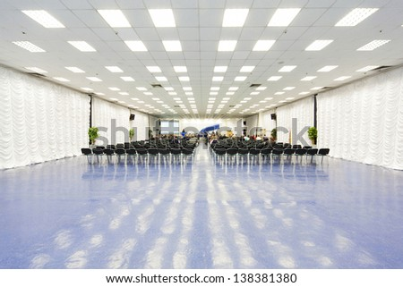 MOSCOW - DEC 8: Beautiful large conference room in Expocenter on December 8, 2010 in Moscow, Russia. The total exhibition area - 150 thousand square meters. - stock photo