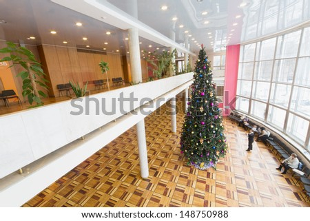 MOSCOW - DEC 30: Christmas tree in the hall of the Cultural Center ZIL on December 30, 2012, Moscow, Russia. In December 2012 Centre celebrated its 75th anniversary.