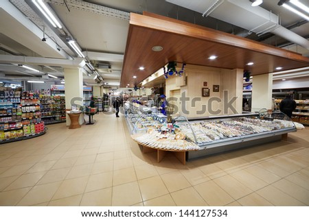 MOSCOW - DEC 8: Department of convenience foods in supermarket of home food Bahetle, December 8, 2012, Moscow, Russia. - stock photo