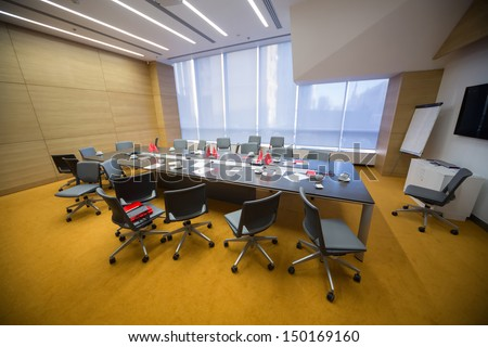 MOSCOW - DEC 20: Empty conference room after the Business Breakfast at the office Rosbank on December 20, 2012 in Moscow Russia. - stock photo