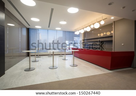 MOSCOW - DEC 20: Empty space for coffee at the main office of Rosbank on December 20, 2012 in Moscow, Russia. - stock photo