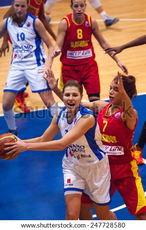 MOSCOW - DECEMBER 4, 2014: Anna Petrakova (31) in action during the International Europe bascketball league match Dynamo Moscow vs Maccabi Ashdod Israel in sport palace Krilatskoe, Moscow, Russia - stock photo