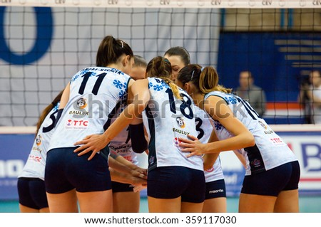 MOSCOW - DECEMBER 2: E. Gamova (11) and E. Vasileva (18) on timeout on a game Dynamo MSK vs Dynamo KZN on Russian National women Volleyball tournament on December 2, in Moscow, Russia, 2015 - stock photo
