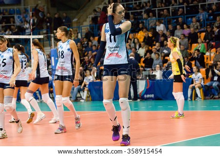 MOSCOW - DECEMBER 2: Ekaterina Gamova (11) on a game Dynamo MSK vs Dynamo KZN on Russian National women Volleyball tournament on December 2, in Moscow, Russia, 2015 - stock photo