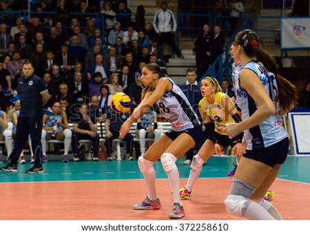 MOSCOW - DECEMBER 2: Elena Gendel (8) in action on a game Dynamo MSK vs Dynamo KZN on Russian National wemen Volleyball tournament on December 2, in Moscow, Russia, 2015 - stock photo