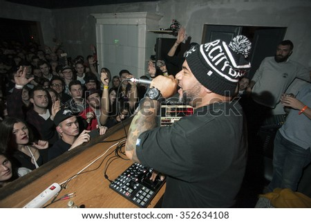 MOSCOW - 12 DECEMBER, 2015 : Erik Stephens known as Apollo Brown, famous classic hip hop producer from Detroit, presents his album Grandeur in Dewars Powerhouse
