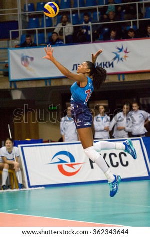 MOSCOW - DECEMBER 2: F. G. Rodrigez (16) pitch on a game Dynamo MSK vs Dynamo KZN on Russian National women Volleyball tournament on December 2, in Moscow, Russia, 2015 - stock photo