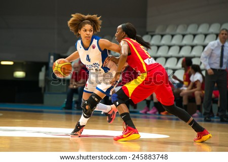 MOSCOW - DECEMBER 4, 2014: K. Keyru (4) versus D. Hightower (6) on the International Europe bascketball match Dynamo Moscow vs Maccabi Ashdod Israel in sport palace Krilatskoe, Moscow, Russia  - stock photo