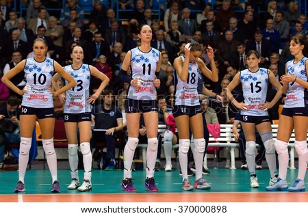 MOSCOW - DECEMBER 2: Kazan team players on timeout on a game Dynamo MSK vs Dynamo KZN on Russian National womens Volleyball tournament on December 2, in Moscow, Russia, 2015 - stock photo