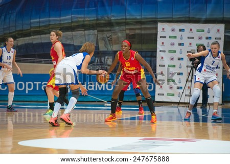 MOSCOW - DECEMBER 4, 2014: L. Jackson (12) on the International Europe bascketball league match Dynamo Moscow vs Maccabi Ashdod Israel in sport palace Krilatskoe, Moscow, Russia. Dynamo loss 59:67 - stock photo