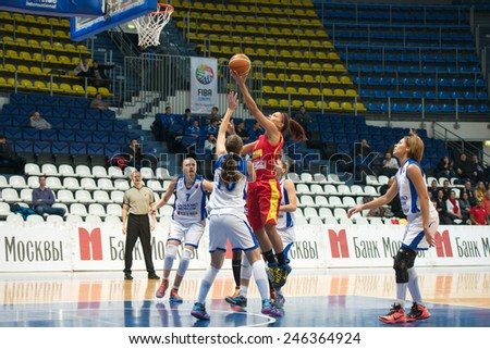 MOSCOW - DECEMBER 4, 2014:  Some players on the International Europe bascketball league match Dynamo Moscow vs Maccabi Ashdod Israel in sport palace Krilatskoe, Moscow, Russia. Dynamo loss 59:67 - stock photo
