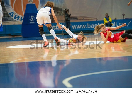 MOSCOW - DECEMBER 4, 2014:  Some players on the International Europe bascketball league match Dynamo Moscow vs Maccabi Ashdod Israel in sport palace Krilatskoe, Moscow, Russia. Dynamo loss 59:67