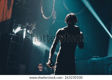 MOSCOW - 6 December, 2014 : Travis Scott performing at Glavclub  - stock photo