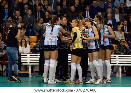 MOSCOW - DECEMBER 2: Unidentified players of Dynamo Kazan team on timeout on game Dynamo MSK vs Dynamo KZN on Russian National wemen Volleyball tournament  in Moscow, Russia, 2015 - stock photo