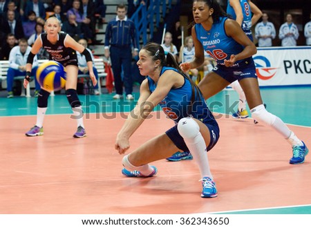 MOSCOW - DECEMBER 2: Yana Shcherban (6) take a ball on a game Dynamo MSK vs Dynamo KZN on Russian National women Volleyball tournament on December 2, in Moscow, Russia, 2015 - stock photo