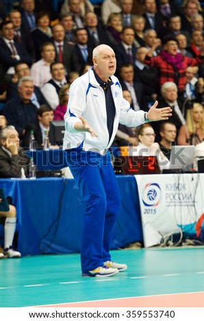 MOSCOW - DECEMBER 2: Yuriy Panchenko, head coach of Dinamo Moscow team on a game Dynamo MSK vs Dynamo KZN on Russian National women Volleyball tournament on December 2, in Moscow, Russia, 2015