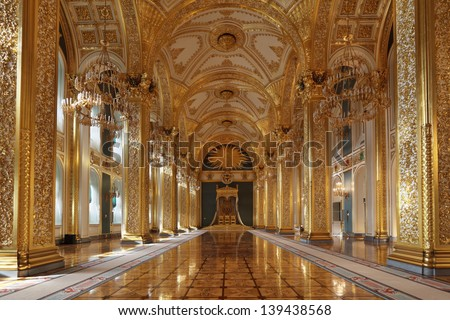MOSCOW-FEB 22: An interior view of the Grand Kremlin Palace is shown on Feb 22, 2013 in Moscow. Built in 1849, the palace is the official residence of the President of Russia. The throne hall - stock photo