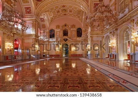 MOSCOW-FEB 22: An interior view of the Grand Kremlin Palace is shown on Feb 22, 2013 in Moscow. Built in 1849, the palace is the official residence of the President of Russia. The St. Alexander hall