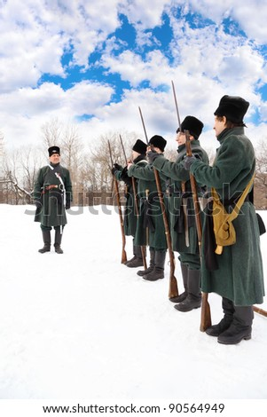 "MOSCOW - FEB 27: Soldiers perform at historical reconstruction, Feb 27, 2011 in Moscow, Russia. Municipality of Lefortovo and ""Moscowskoe opolchenie"" had military-historical festival ""Lefortovo maneuvers""."