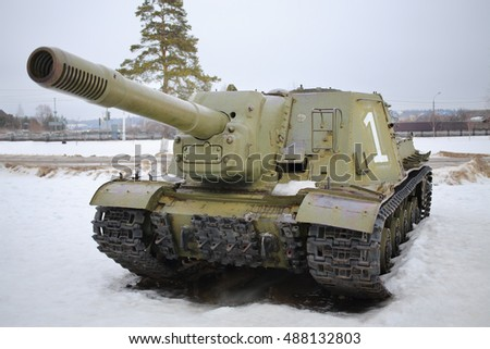 MOSCOW - FEB 23, 2015: Soviet tank at the exhibition in the open air