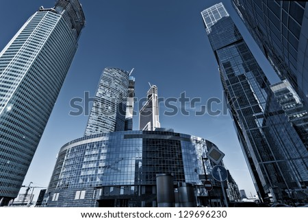"MOSCOW - FEBRUARY 24: The Moscow International Business Center, Moscow-City on FEBRUARY 24, 2013 in Moscow. Construction of Moscow-City is the first step in creating a district of Moscow ""Big City"""