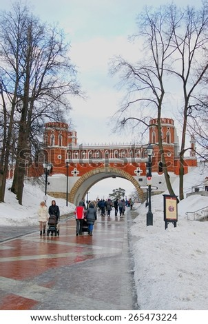 MOSCOW - FEBRUARY 01, 2015: View of Tsaritsyno park in Moscow, Russia, in winter. A popular touristic landmark. - stock photo