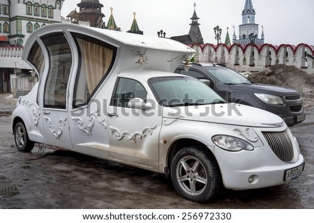 MOSCOW FEBRUARY 28: Vintage wedding car decorated as a carriage on the 28 february 2015 in Izmailovo Kremlin, Moscow, Russia - stock photo