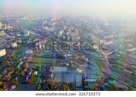 Moscow from a height, the view from the Ostankino tower