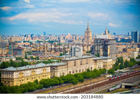 Moscow - historic district. Railroad in the foreground  - stock photo