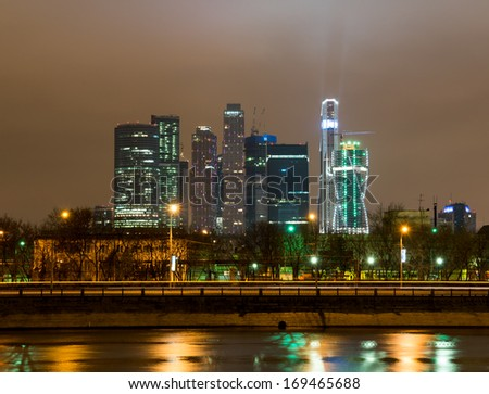 Moscow International Business Center at night, Russia