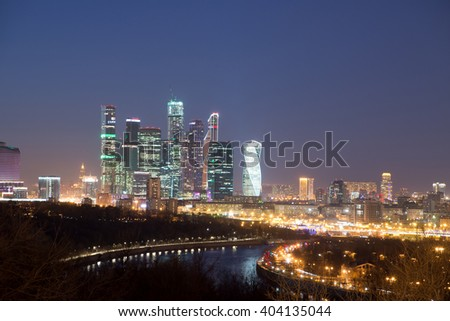 Moscow International Business Center (Moscow City) at night. View from the observation platform on the Sparrow Hills. Moscow, Russia. - stock photo