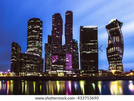 Moscow International Business Center on long exposure