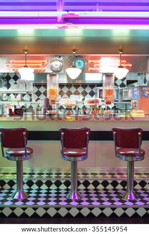 MOSCOW - JAN 21, 2015: Bar counter at the American restaurant Beverly Hills Diner  - stock photo