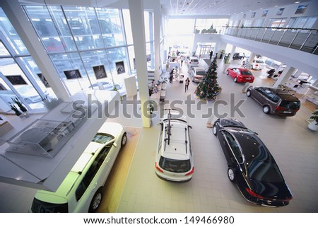 MOSCOW - JAN 11: Office premises Volkswagen dealer Center Varshavka on January 11, 2013, Moscow, Russia. Volkswagen dealership on Varshavka offers a full range of cars Volkswagen - stock photo