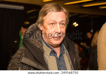 MOSCOW - JANUARY, 28: Actor  Mikhail Efremov. Premiere of the movie Leviathan at Moscow Cinema,  January, 28, 2015 in Moscow, Russia - stock photo