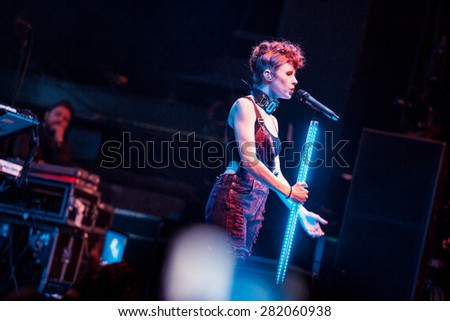 MOSCOW - 29 JANUARY,2015 : Concert of famous pop singer Kiesza performing live concert on stage in night club.Fashionable young woman sing on bright nightclub scene.Music festival show photography