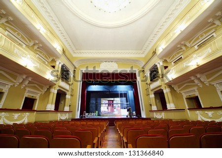 MOSCOW - JANUARY 27: Empty hall in theater in Palace on Yauza on January 27, 2012 in Moscow, Russia. Palace has 5 halls different capacity with good acoustics. - stock photo