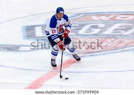 MOSCOW - JANUARY 29, 2016: Jari Kurri (17) in action on hockey game Finland vs Russia on League of World legends of Ice hockey championship in VTB ice arena, Russia. Russia won 6:2