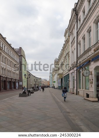 Moscow - January 16, 2015: Nikolskaya street of the city is a pedestrian area with many historic landmarks and trendy shops January 16, 2015, Moscow, Russia - stock photo
