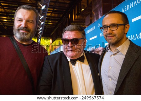 MOSCOW - JANUARY, 28: V.Grishko, R. Medyanov, A. Zvyagintsev. Premiere of the movie Leviathan at Moscow Cinema,  January, 28, 2015 in Moscow, Russia - stock photo
