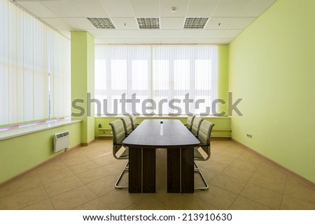 MOSCOW - JULY 29: A modern empty meeting room in the warehouse on july 29, 2014 in Moscow. Moscow is a modern city with well-developed logistics infrastructure. - stock photo