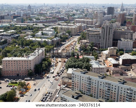 Moscow - 25 July 2015: Aerial view of the city in the summer and see the streets of the city near the Sokolniki June 25, 2015, Moscow, Russia