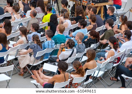 """MOSCOW - JULY 10: Audience at workshop """"The Future of Labor and the City"""" in """"Strelka Institute"""" on July 10, 2010 in Moscow, Russia - stock photo"""