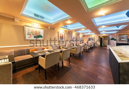 "MOSCOW - JULY 2014: Interior of stylish Mediterranean cuisine Italian restaurant - ""SILLYCAT"". Catering Facilities"