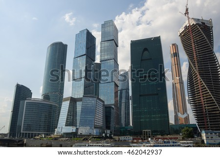 MOSCOW - JULY 04: Moscow International Business Center on July 04, 2013, Moscow, Russia. Moscow-City is a commercial district in central Moscow, located near the Third Ring Road in Presnensky District