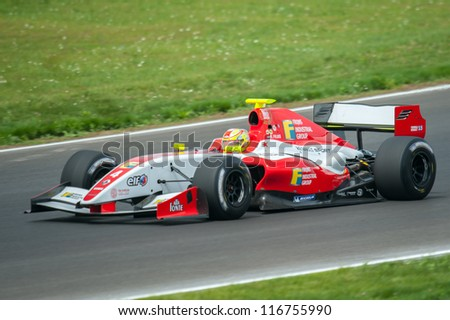 MOSCOW - JULY 14: Robin Frijns of Fortec Motorsports at the Moscow Raceway circuit in the Eurocup Formula Renault 3.5 on July 14, 2012 in around Moscow, Russia - stock photo