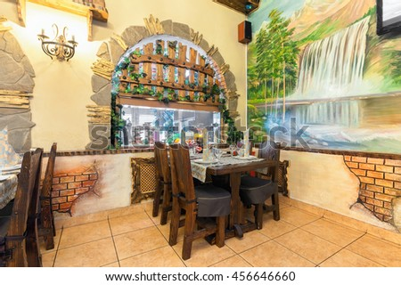 "MOSCOW - JULY 2014: The interior in a nautical theme of the restaurant ""VODOPAD"""