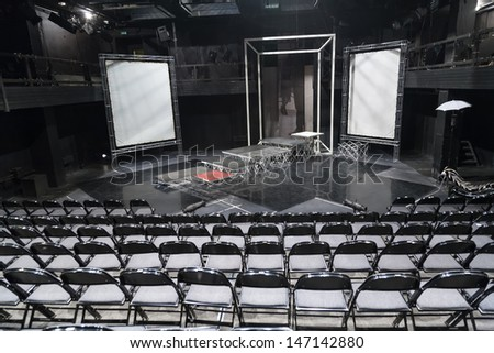 MOSCOW - JUN 16: Empty theater scene of School studio MHAT former Finance House Tolmacheva on June 16, 2008 in Moscow, Russia. - stock photo