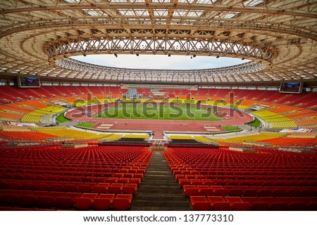 MOSCOW - JUN 11: Grand Sports Arena of Luzhniki Olympic Complex during International athletics competitions IAAF World Challenge Moscow Challenge, June 11, 2012, Moscow, Russia. - stock photo
