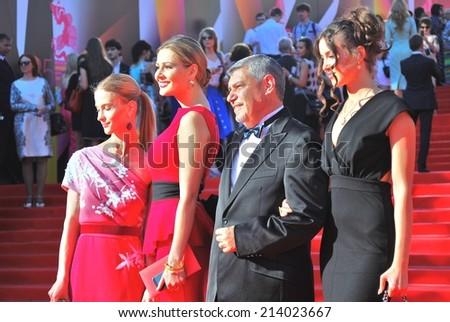 MOSCOW - JUNE 20, 2013: Actress Svetlana Ivanova  (first at left) at XXXV Moscow International Film Festival red carpet opening ceremony.
